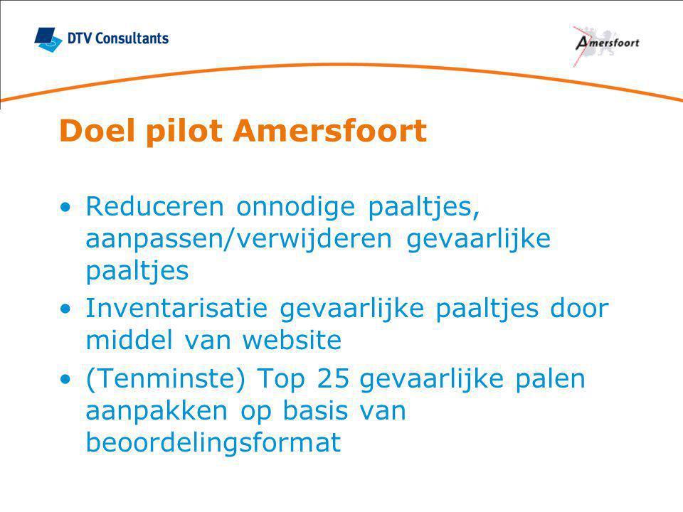 Doel pilot Amersfoort Reduceren onnodige paaltjes, aanpassen/verwijderen gevaarlijke paaltjes.