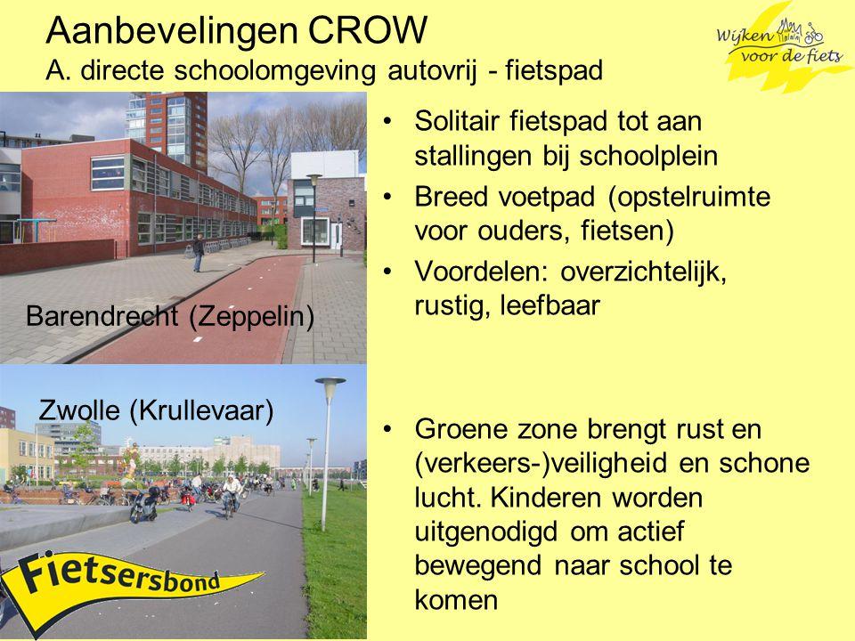 Aanbevelingen CROW A. directe schoolomgeving autovrij - fietspad