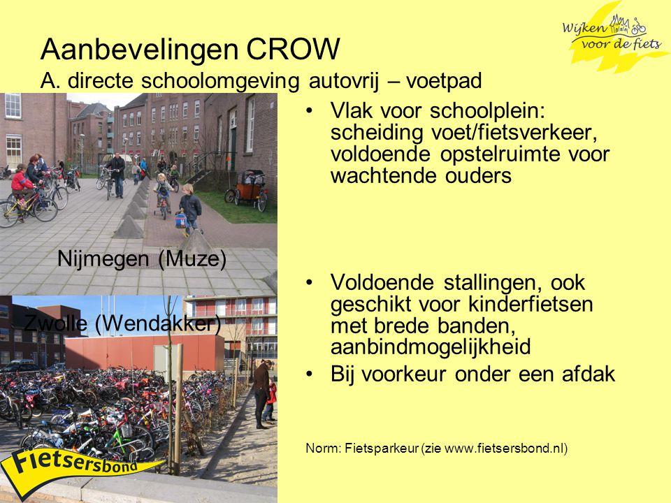 Aanbevelingen CROW A. directe schoolomgeving autovrij – voetpad