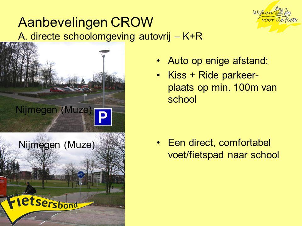 Aanbevelingen CROW A. directe schoolomgeving autovrij – K+R
