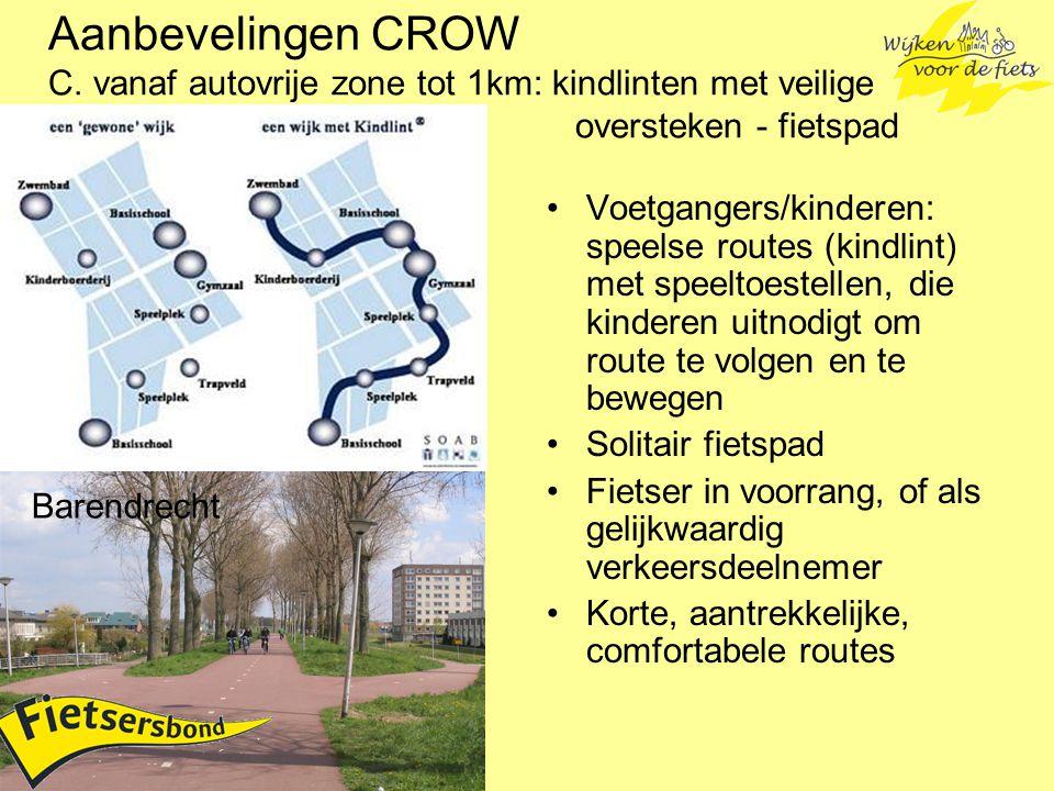 Aanbevelingen CROW C. vanaf autovrije zone tot 1km: kindlinten met veilige oversteken - fietspad