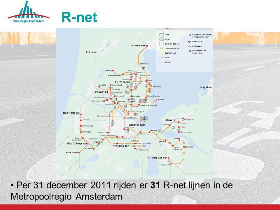 R-net Per 31 december 2011 rijden er 31 R-net lijnen in de Metropoolregio Amsterdam