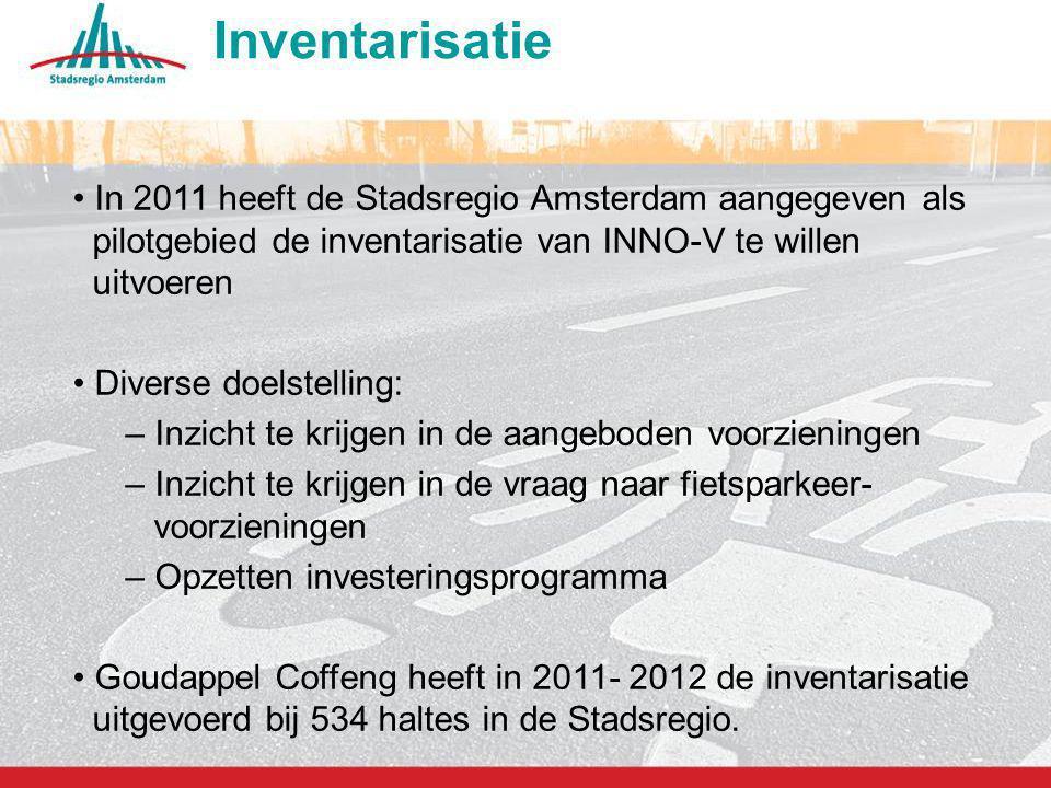 Inventarisatie In 2011 heeft de Stadsregio Amsterdam aangegeven als pilotgebied de inventarisatie van INNO-V te willen uitvoeren.
