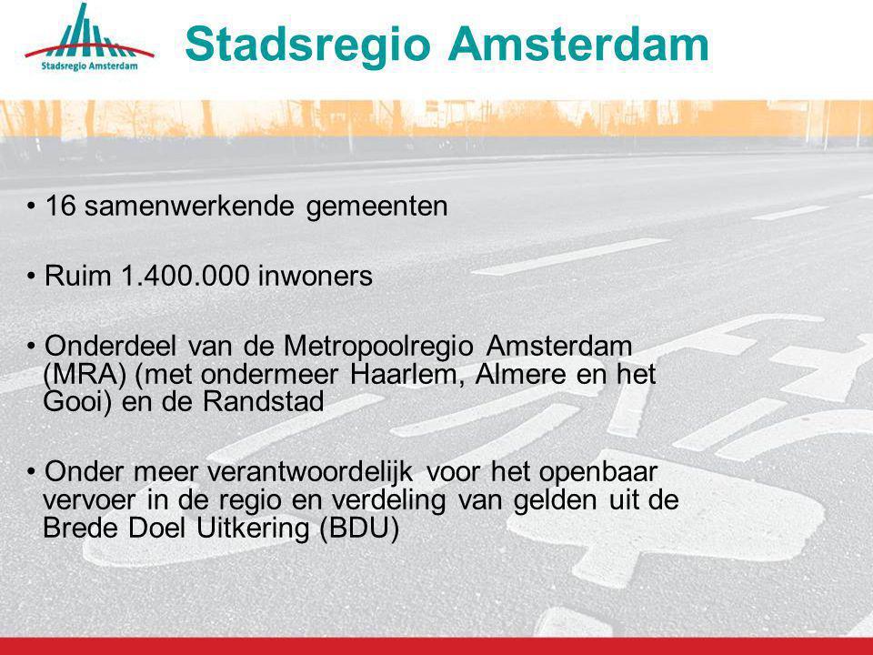 Stadsregio Amsterdam 16 samenwerkende gemeenten