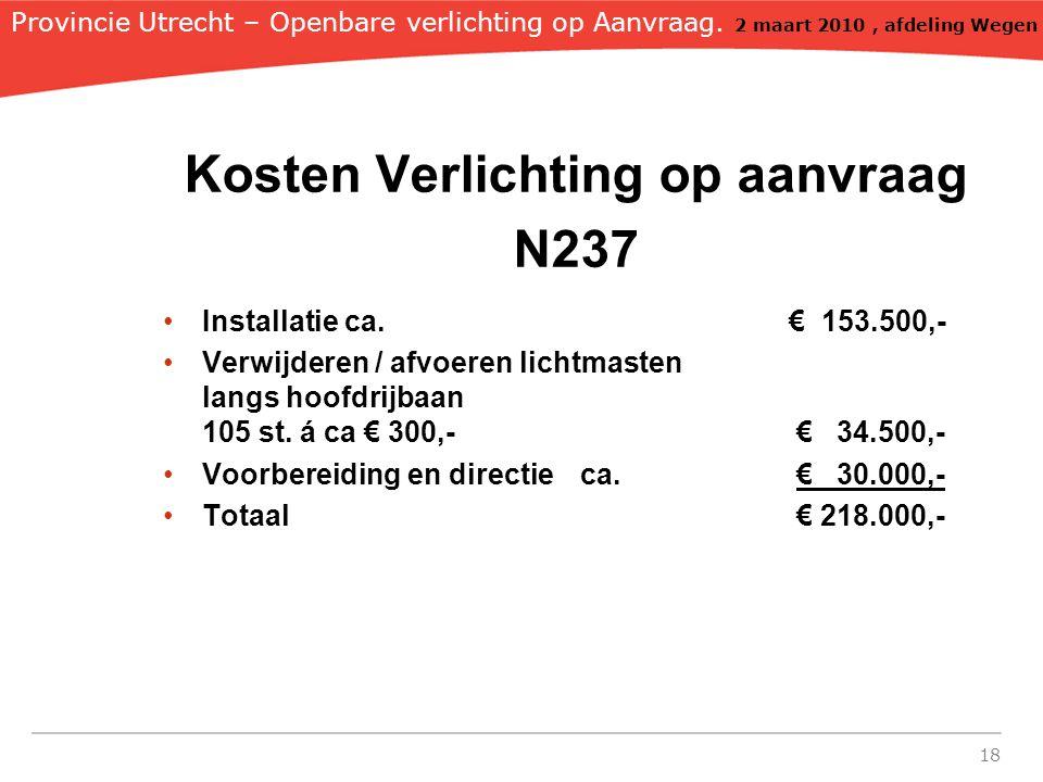 Kosten Verlichting op aanvraag N237