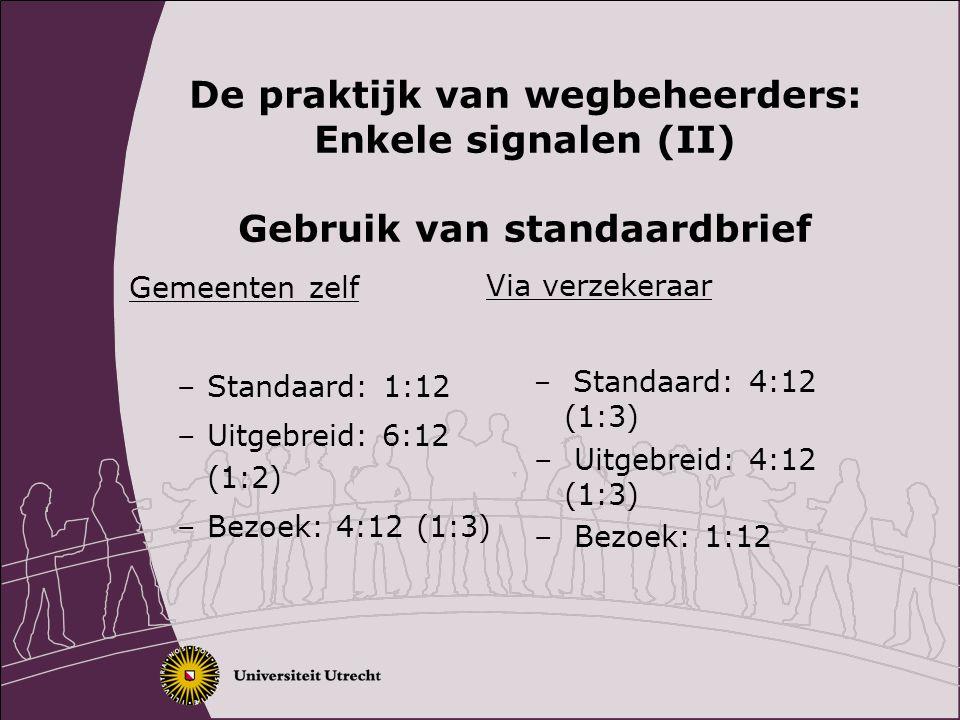 De praktijk van wegbeheerders: Enkele signalen (II) Gebruik van standaardbrief