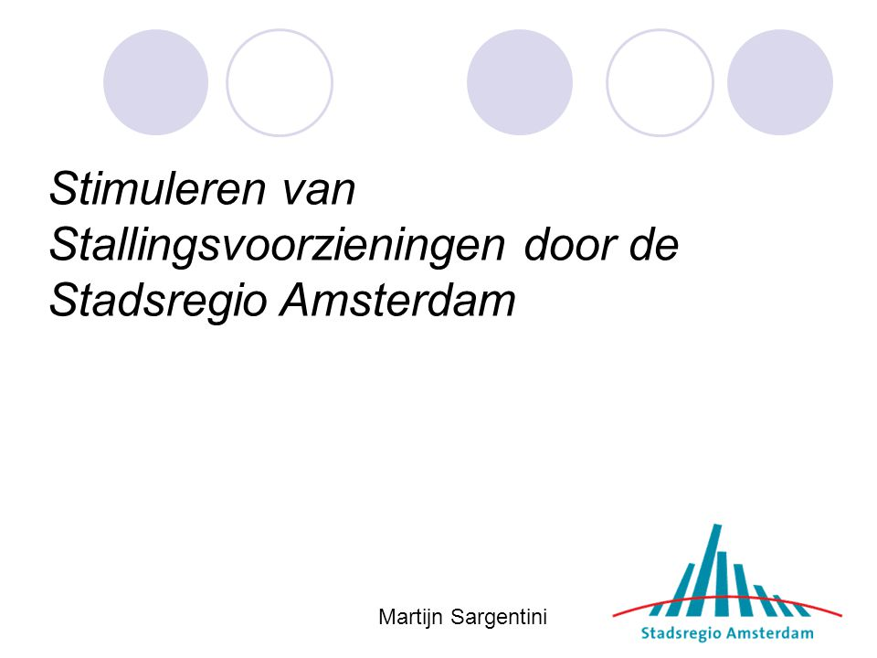 Stimuleren van Stallingsvoorzieningen door de Stadsregio Amsterdam