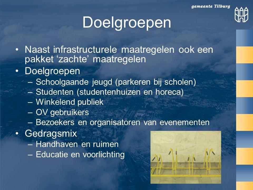 Doelgroepen Naast infrastructurele maatregelen ook een pakket 'zachte' maatregelen. Doelgroepen. Schoolgaande jeugd (parkeren bij scholen)