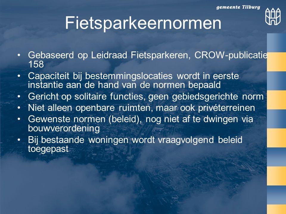 Fietsparkeernormen Gebaseerd op Leidraad Fietsparkeren, CROW-publicatie 158.