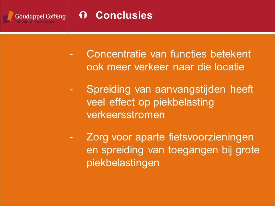 Conclusies Concentratie van functies betekent ook meer verkeer naar die locatie.