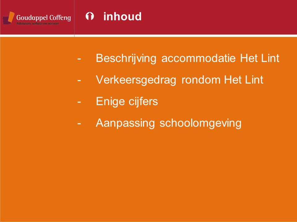 inhoud Beschrijving accommodatie Het Lint. Verkeersgedrag rondom Het Lint.