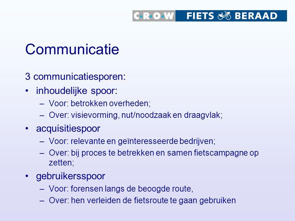 Communicatie 3 communicatiesporen: inhoudelijke spoor: acquisitiespoor