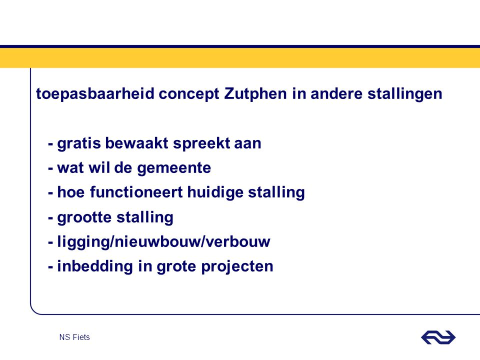 toepasbaarheid concept Zutphen in andere stallingen