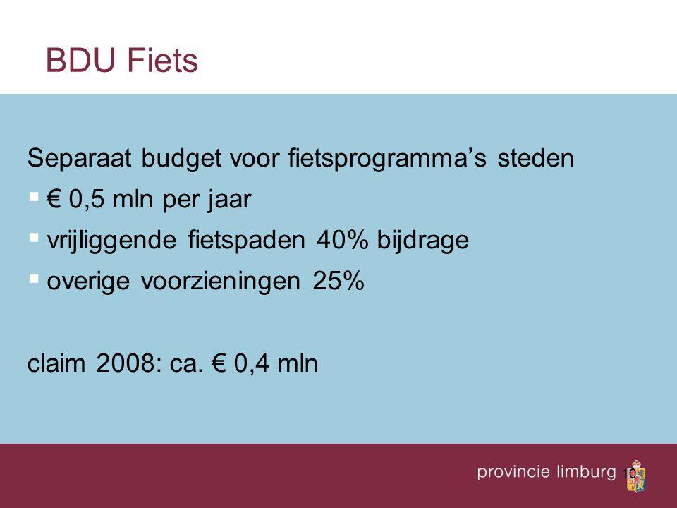 BDU Fiets Separaat budget voor fietsprogramma's steden