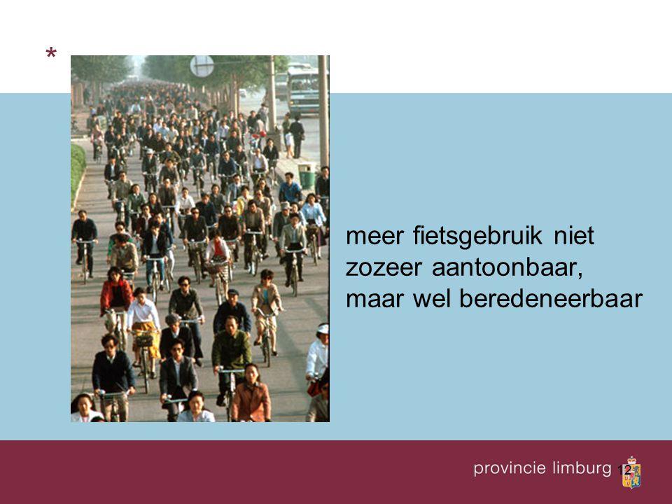 * meer fietsgebruik niet zozeer aantoonbaar, maar wel beredeneerbaar