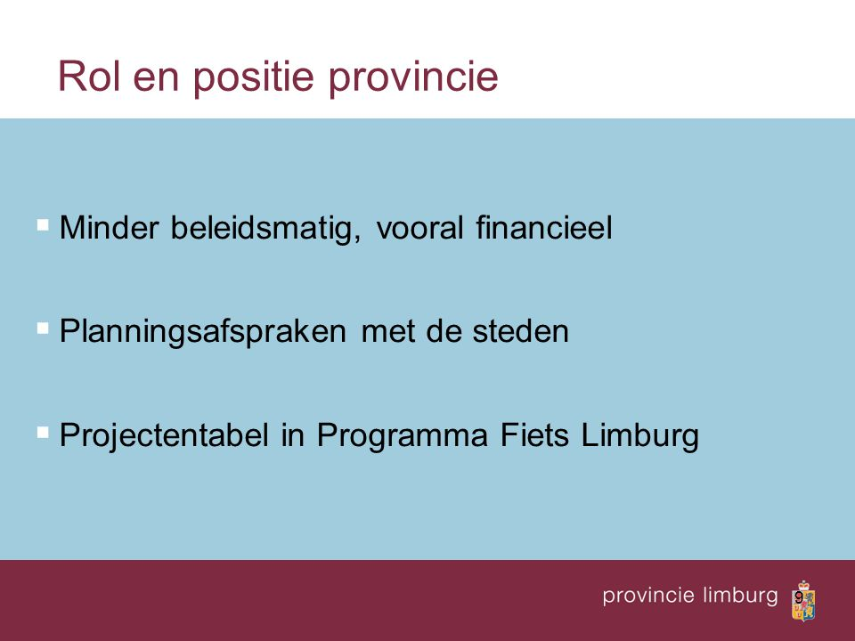 Rol en positie provincie