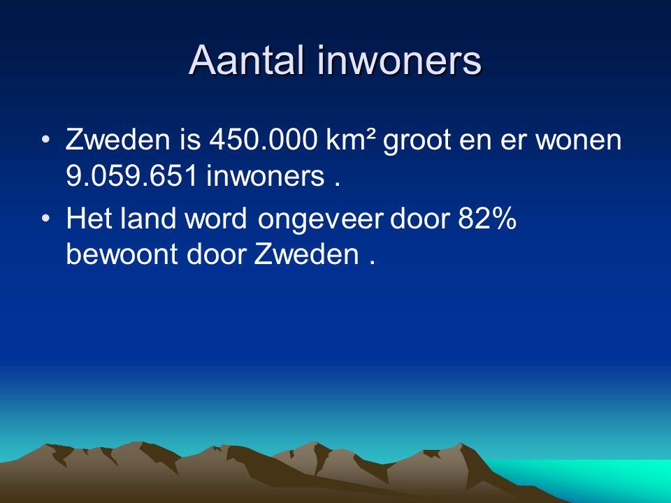 Aantal inwoners Zweden is 450.000 km² groot en er wonen 9.059.651 inwoners .