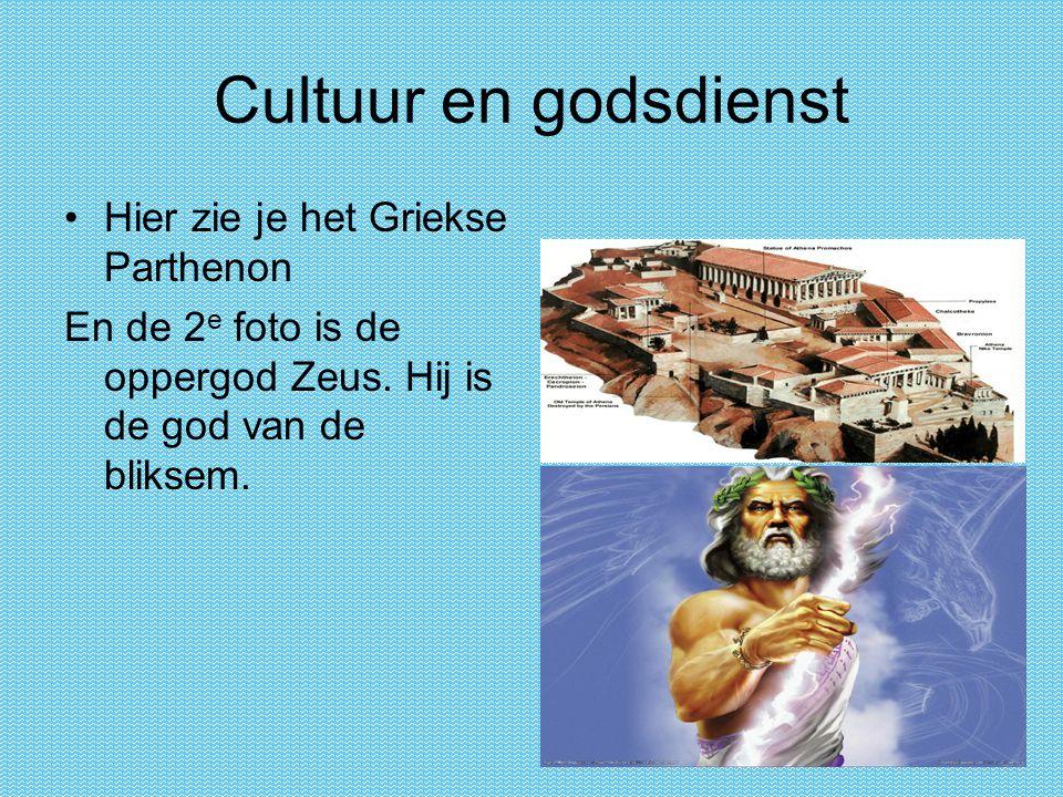 Cultuur en godsdienst Hier zie je het Griekse Parthenon