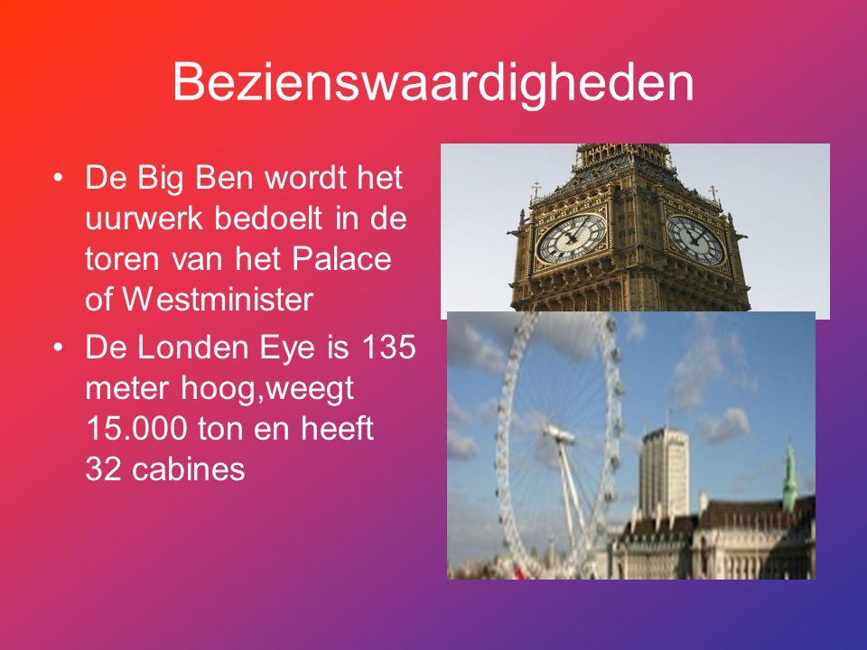 Bezienswaardigheden De Big Ben wordt het uurwerk bedoelt in de toren van het Palace of Westminister.