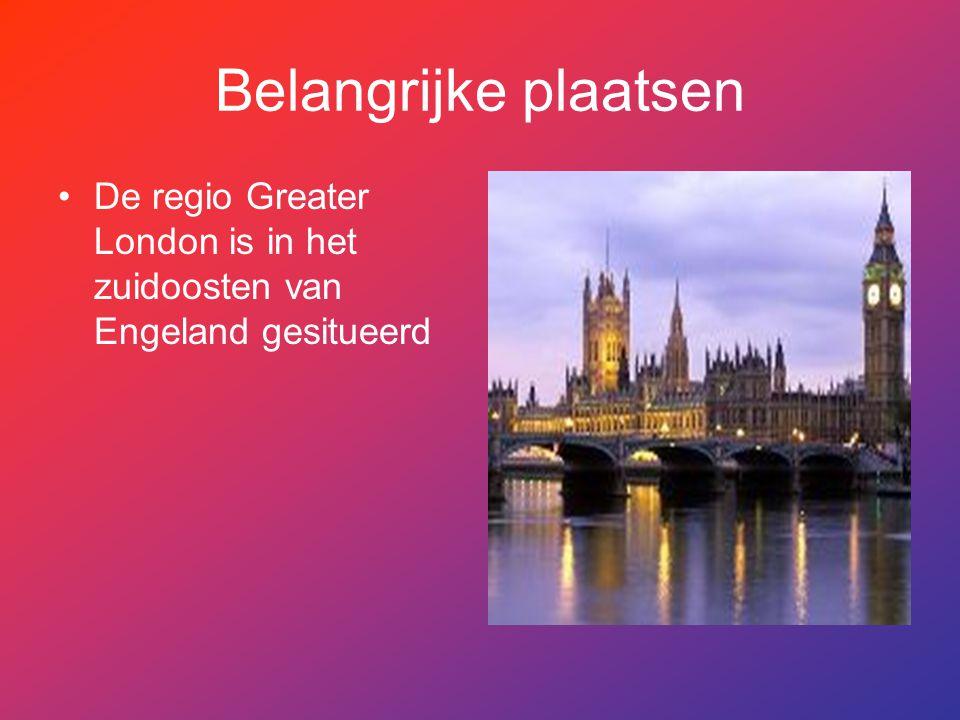 Belangrijke plaatsen De regio Greater London is in het zuidoosten van Engeland gesitueerd.