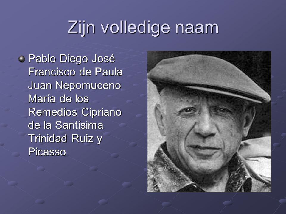 Zijn volledige naam Pablo Diego José Francisco de Paula Juan Nepomuceno María de los Remedios Cipriano de la Santísima Trinidad Ruiz y Picasso.