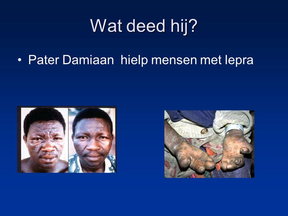 Wat deed hij Pater Damiaan hielp mensen met lepra
