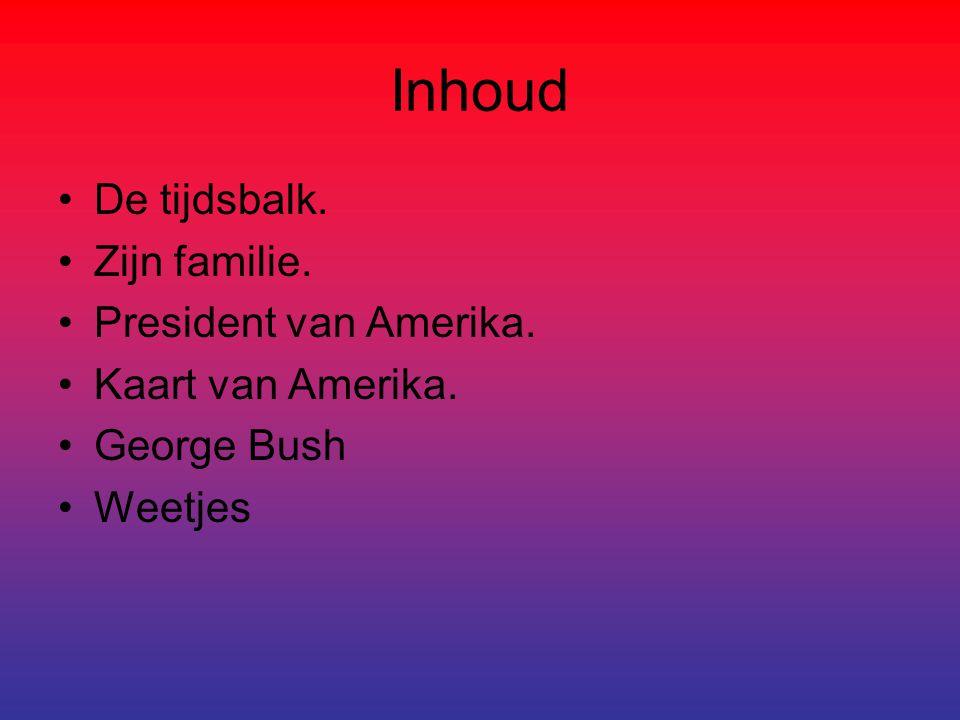 Inhoud De tijdsbalk. Zijn familie. President van Amerika.