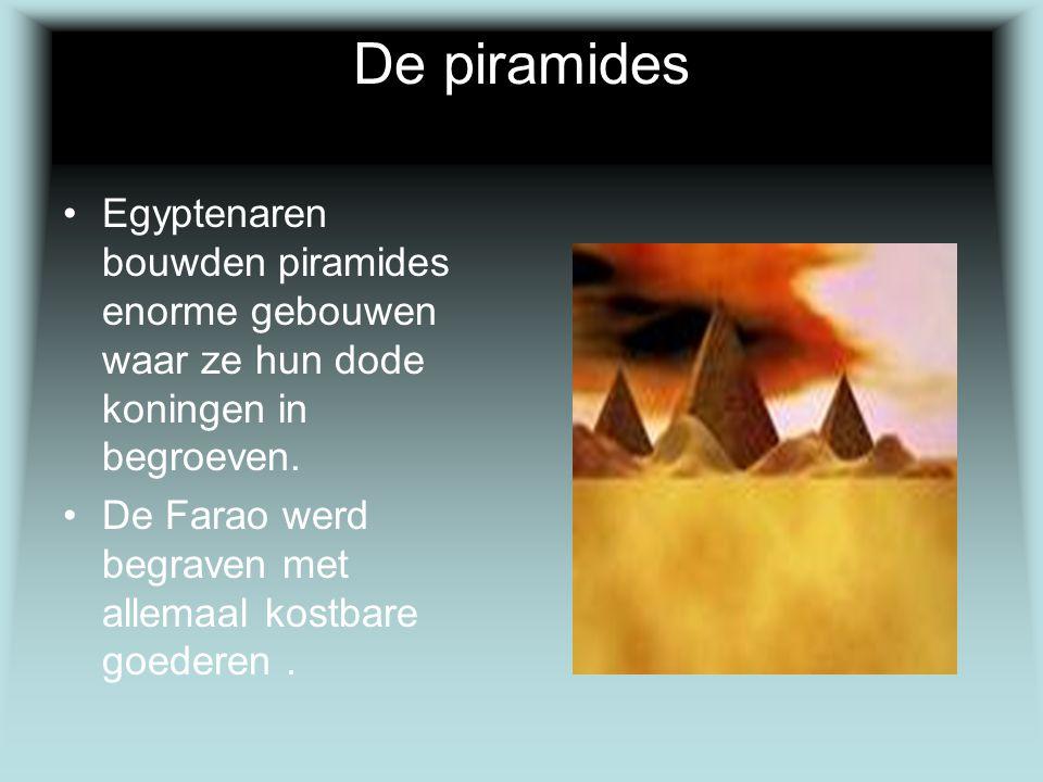 De piramides Egyptenaren bouwden piramides enorme gebouwen waar ze hun dode koningen in begroeven.
