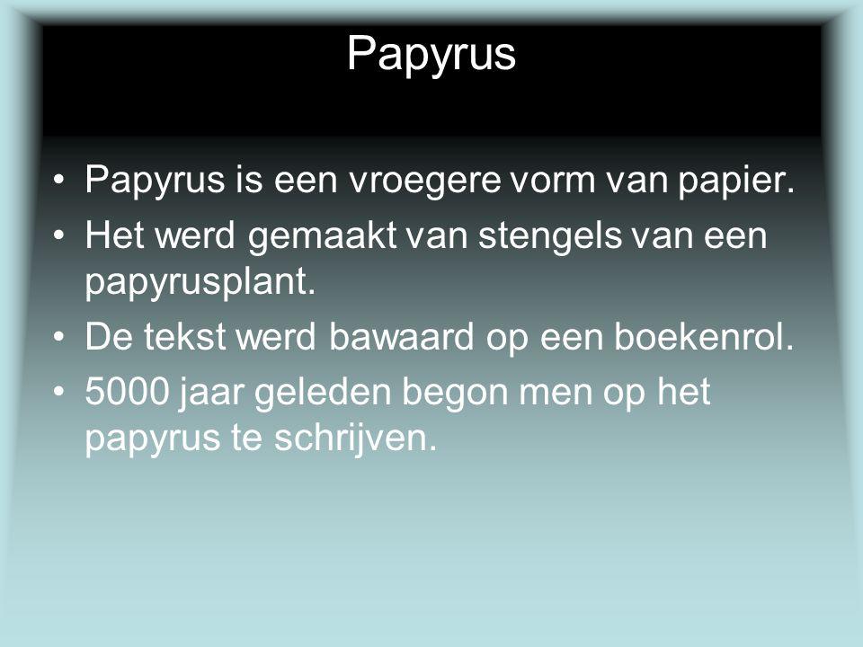 Papyrus Papyrus is een vroegere vorm van papier.