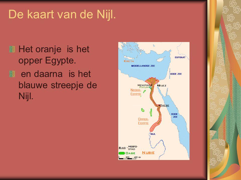 De kaart van de Nijl. Het oranje is het opper Egypte.