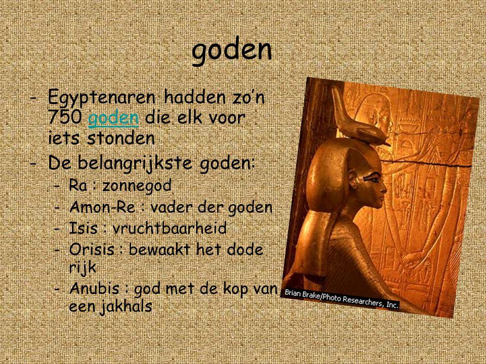 goden Egyptenaren hadden zo'n 750 goden die elk voor iets stonden