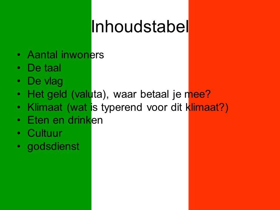 Inhoudstabel Aantal inwoners De taal De vlag
