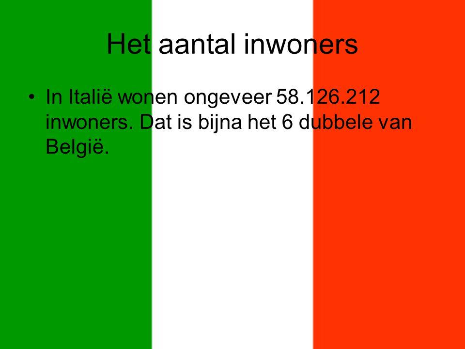 Het aantal inwoners In Italië wonen ongeveer 58.126.212 inwoners.
