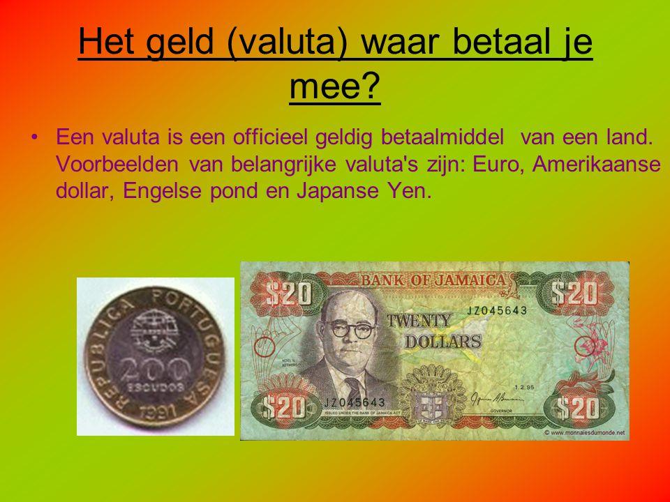Het geld (valuta) waar betaal je mee