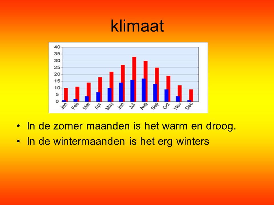 klimaat In de zomer maanden is het warm en droog.