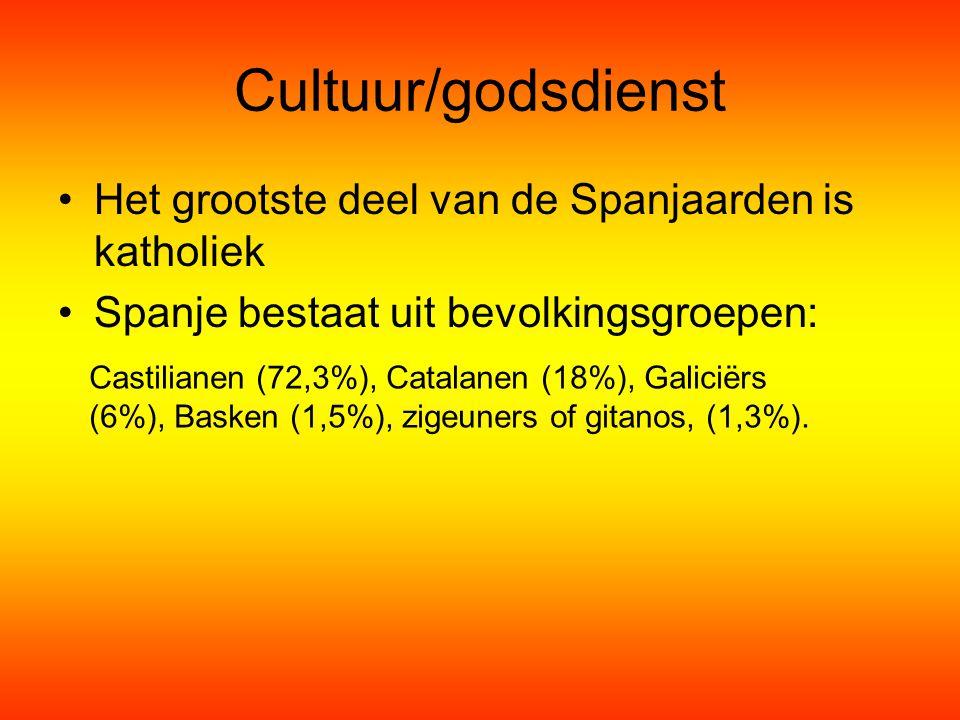 Cultuur/godsdienst Het grootste deel van de Spanjaarden is katholiek