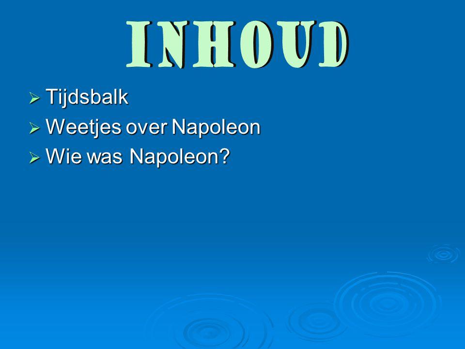 inhoud Tijdsbalk Weetjes over Napoleon Wie was Napoleon