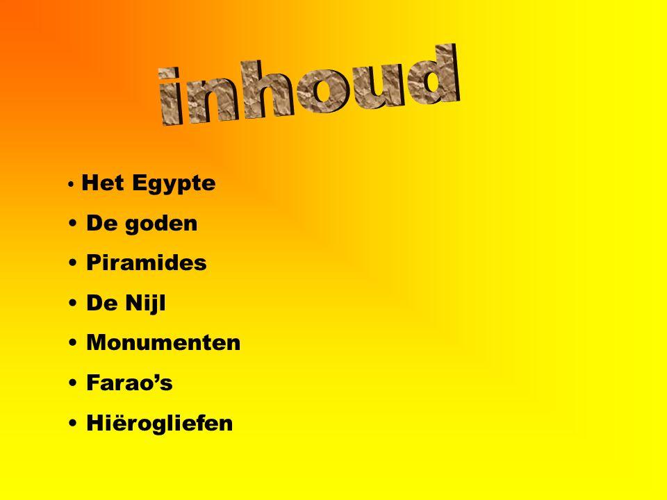 inhoud De goden Piramides De Nijl Monumenten Farao's Hiërogliefen