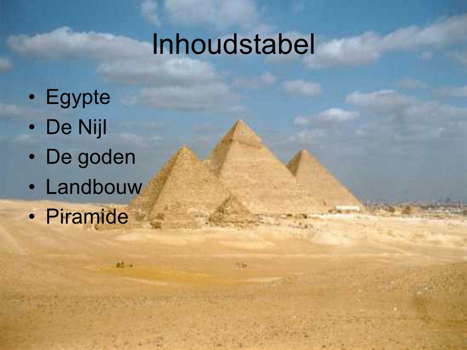 Inhoudstabel Egypte De Nijl De goden Landbouw Piramide