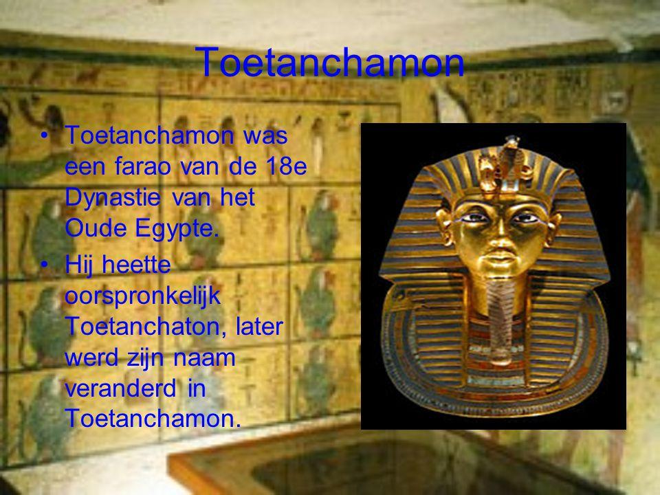 Toetanchamon Toetanchamon was een farao van de 18e Dynastie van het Oude Egypte.