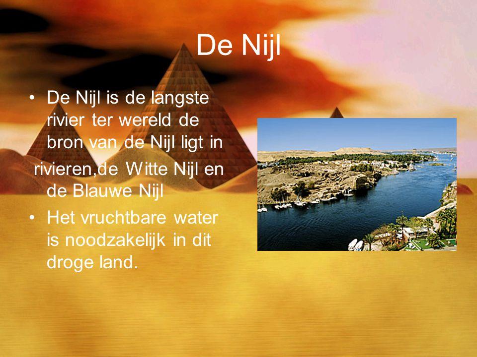 De Nijl De Nijl is de langste rivier ter wereld de bron van de Nijl ligt in. rivieren,de Witte Nijl en de Blauwe Nijl.