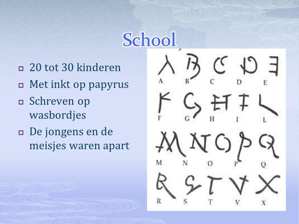 School 20 tot 30 kinderen Met inkt op papyrus Schreven op wasbordjes
