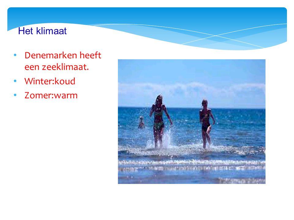 Denemarken heeft een zeeklimaat. Winter:koud Zomer:warm