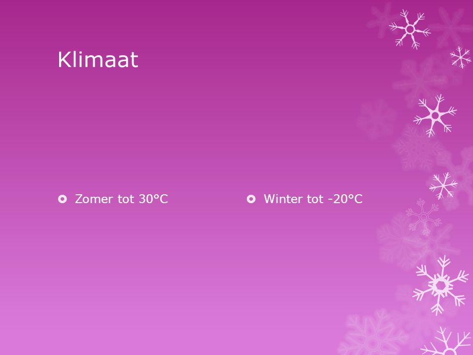 Klimaat Zomer tot 30°C Winter tot -20°C