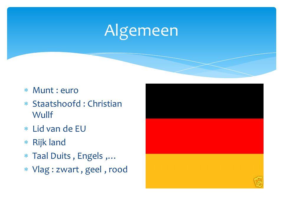 Algemeen Munt : euro Staatshoofd : Christian Wullf Lid van de EU