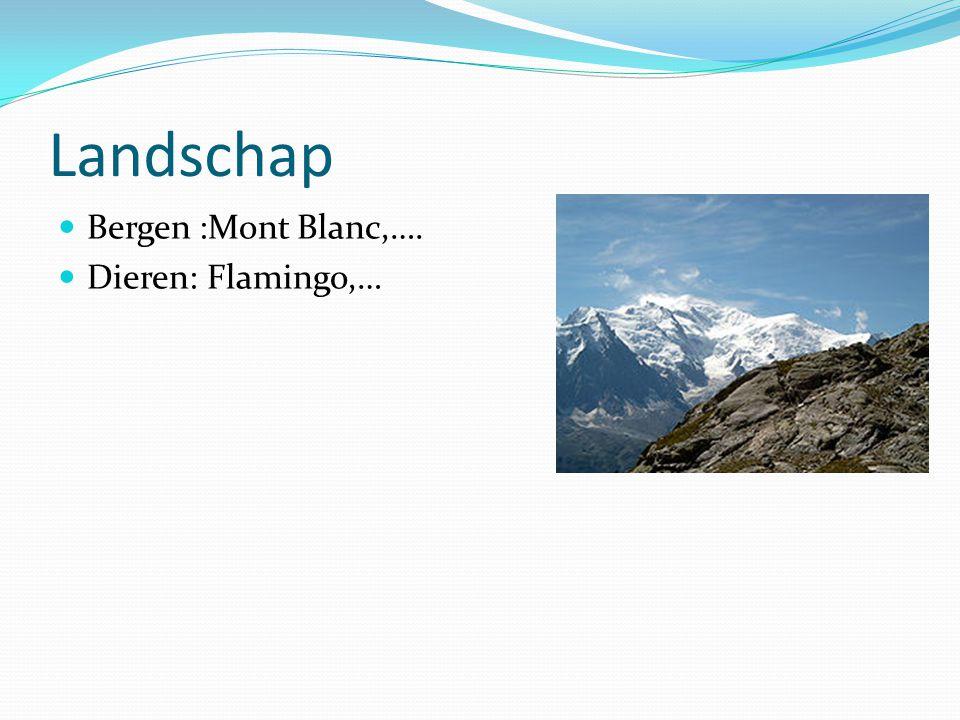 Landschap Bergen :Mont Blanc,…. Dieren: Flamingo,…