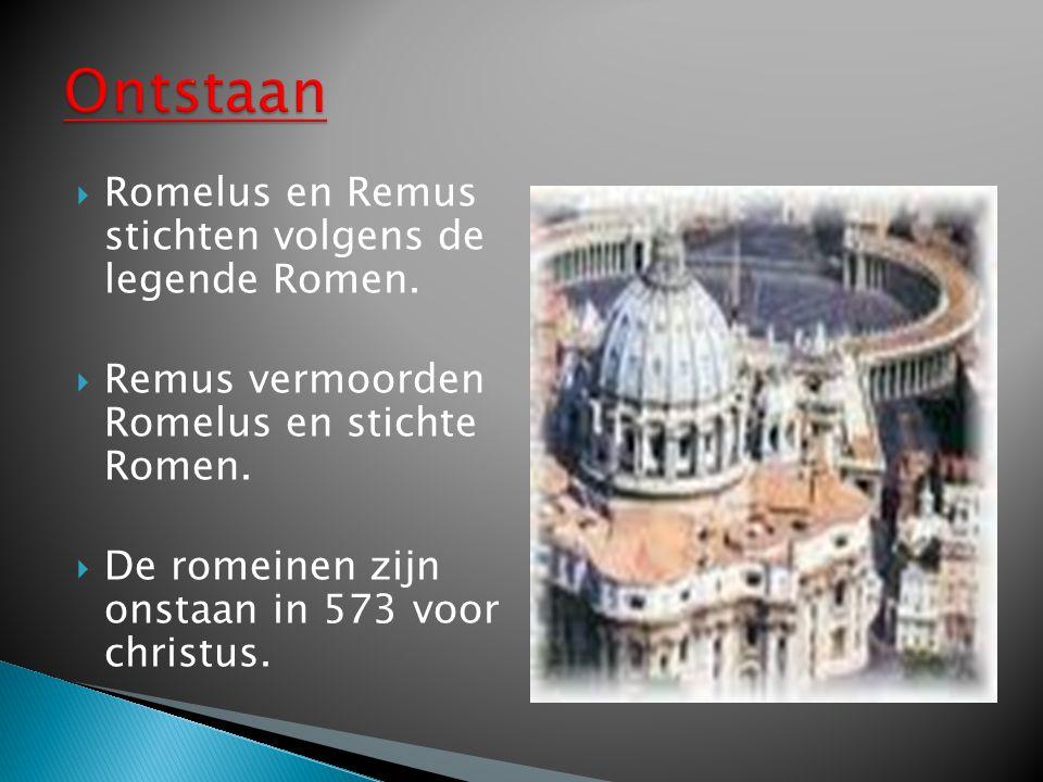 Ontstaan Romelus en Remus stichten volgens de legende Romen.