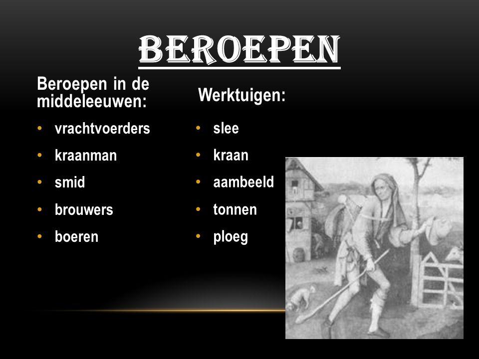 Beroepen Beroepen in de middeleeuwen: Werktuigen: vrachtvoerders