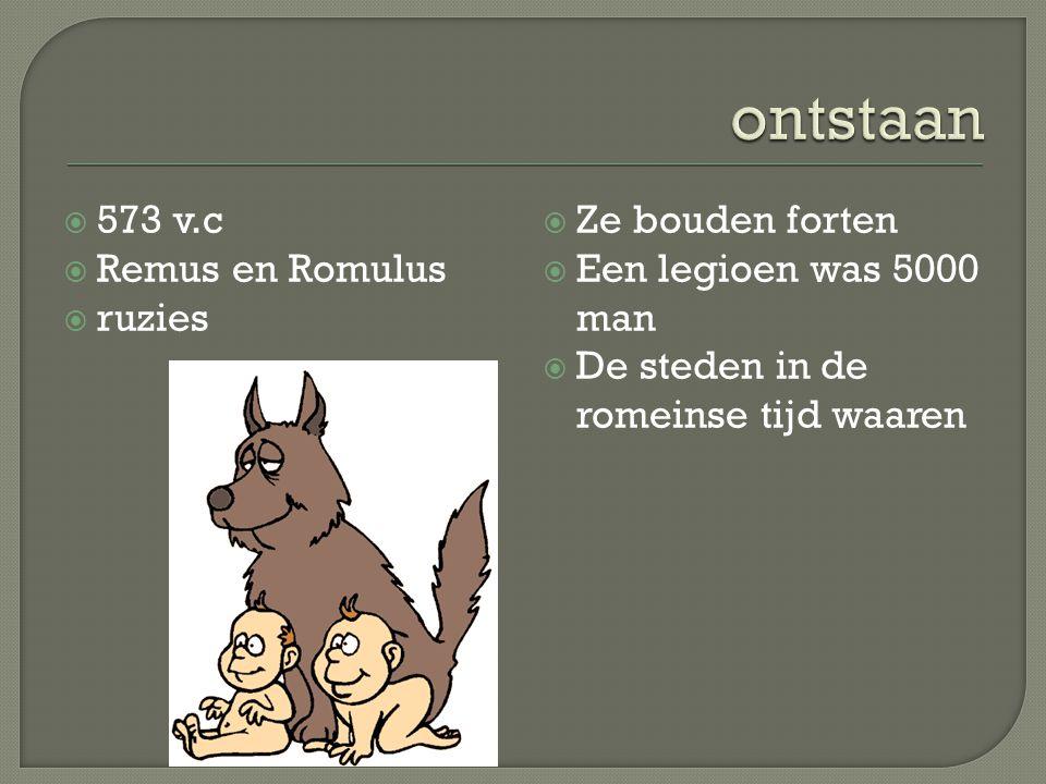 ontstaan 573 v.c Remus en Romulus ruzies Ze bouden forten