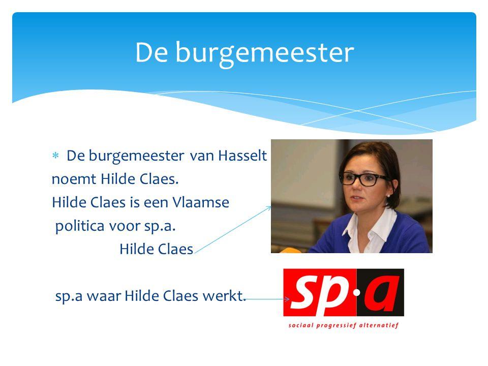 De burgemeester De burgemeester van Hasselt noemt Hilde Claes.